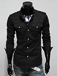 povoljno -Neformalan Ležerne košulje - MEN - Kragna košulje - Dugi rukav ( Polyester )