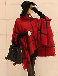cheap -Women Plaid Knit Loose Cloak of Elegant Joker