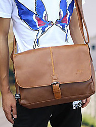 cheap -Men 's PU Messenger Shoulder Bag - Brown/Black
