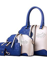 baratos -Mulheres Bolsas PU Tote / Bolsa de Ombro / Conjuntos de saco Conjunto de bolsa de 4 pcs Preto / Marron / Azul / Conjuntos de sacolas