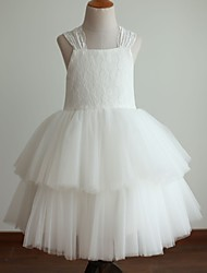 Princess Tea Length Flower Girl Dress - Lace Satin Tulle Sleeveless Halter with Lace by thstylee