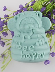 cheap -Bear Bee Happy Shaped Soap Molds Mould Fondant Cake Chocolate Silicone Mold, Decoration Tools Bakeware