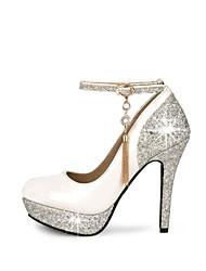 Feminino Sapatos Courino Primavera Verão Outono Salto Agulha Plataforma Presilha Para Casamento Social Festas & Noite Branco Preto