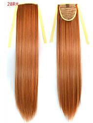 baratos -Reto Sintético Pedaço de cabelo Alongamento 18 polegadas # 28