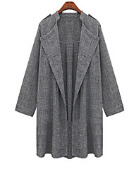 cheap -Women's Long Sleeve Linen/Denim/Spandex Trench Coat , Casual/Plus Sizes