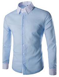 Недорогие -Мужчины На каждый день Рубашка Рубашечный воротник,Простое Однотонный Синий Розовый Белый Черный Длинный рукав,Хлопок