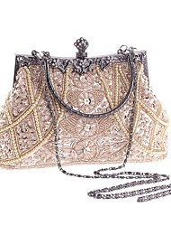 cheap -Women's Bags Polyester Evening Bag Imitation Pearl / Crystal / Rhinestone Geometric Champagne / Black / Gold