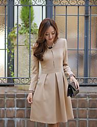 preiswerte -Informell / Business Zugeschnittener Kragen - Langarm - FRAUEN - Kleider ( Baumwolle / Polyester )