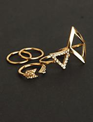 Anéis Meio Dedo Liga imitação de diamante Moda Dourado Prata Jóias Festa 1 Conjunto