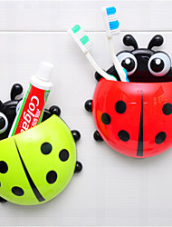 cheap -Cartoon Ladybug Shape Toothbrush Holder Mount With Suction Grip Wall Rack Bathroom