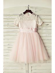 economico -Un vestito dalla ragazza del fiore della lunghezza del ginocchio a-line - il collo del merletto del merletto del merletto del merletto con il nastro