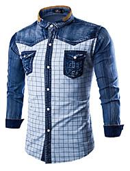 お買い得  -男性用 シャツ シンプル ソリッド カラーブロック