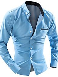 Недорогие -Муж. Офис Рубашка Воротник с уголками на пуговицах (button-down) Тонкие Деловые Однотонный Белый / Длинный рукав