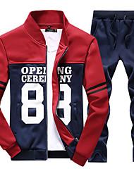 Для мужчин Спорт На каждый день Простой Активный Большие размеры толстовка с капюшоном куртки Контрастных цветов Буквы Хлопок Полиэстер