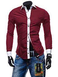 Afslappede skjorter ( Bomuld / Bomulds Blanding ) MEN - Casual Trøje Krave - Lang Ærmet