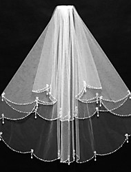 cheap -Two-tier Beaded Edge Wedding Veil Elbow Veils With Bead Tulle