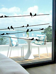 cheap -Window Stickers Window Decals Style Bird on The Wire PVC Window stickers