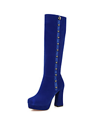 cheap -Women's Shoes Fleece Winter Fashion Boots Boots Walking Shoes Chunky Heel Platform Round Toe Rivet Zipper For Wedding Casual Party &