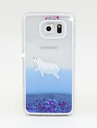 cheap -Case For Samsung Galaxy Samsung Galaxy Case Flowing Liquid Back Cover Glitter Shine PC for S6 / S5 / S4