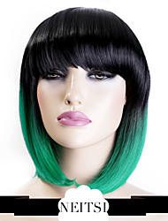 billige -Syntetiske parykker Lige Syntetisk hår Grøn Paryk Lågløs