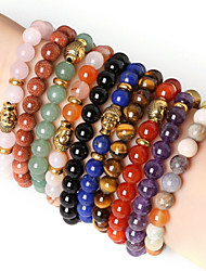 cheap -Beadia 1Pc Fashion 8mm Round Stone Elastic Strand Bracelet Gold Buddha Bracelet 9 Colors U-Pick