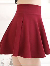 cheap -Women's Daily Mini Skirts,Cute A Line Polyester Solid All Seasons