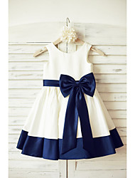 cheap -A-Line Knee Length Flower Girl Dress - Satin Sleeveless Scoop Neck with Bow(s) Sash / Ribbon by LAN TING BRIDE®