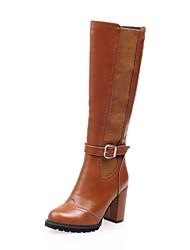 baratos -Feminino Sapatos Courino Outono Inverno Salto Robusto Botas Cano Alto Botas Cano Médio Presilha Ziper Combinação Para Casual Social Preto