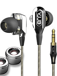 VJJB V1 Wired 3.5MM Hi-fi stereo Dual drive headphones Professional Concert Noise isolate Bass for Iphone 6 / 6Plus