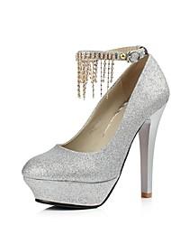 Feminino Sapatos Courino Primavera Verão Outono Salto Agulha Plataforma Presilha Para Casamento Festas & Noite Prata Vermelho Dourado