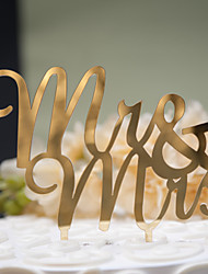 cheap -Mirror Surface Cake Topper Mr & Mrs (2 color)