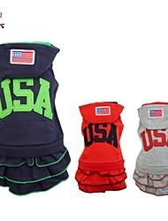Chien Pulls à capuche Robe Vêtements pour Chien Mode Sportif Amérique / Etats-Unis Bleu de minuit Gris Rouge Costume Pour les animaux