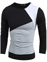 Men's Sports Casual/Daily T-shirt,Solid Color Block Long Sleeve Cotton