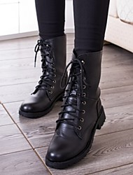Women's Shoes Fashion Low Heel Round Toe Combat Mid-calf Boots Casual Black