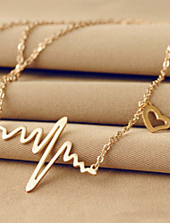 cheap -Women's Heart Titanium Steel 18K Gold Pendant Necklace - Titanium Steel 18K Gold Unique Design Basic Love Heart Necklace For Wedding