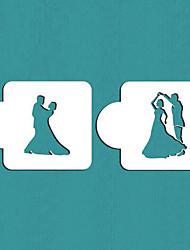 dança do presente dos pares bolo estêncil stencil biscoito dos namorados, st-359
