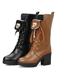 Feminino Sapatos Courino Outono Inverno Salto Grosso Botas Cano Médio Cadarço Para Social Preto Marron