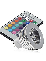 3W GU5.3(MR16) LED Stage Lights MR16 1 High Power LED 250 lm RGB RGB K Dimmable Remote-Controlled Decorative DC 12 V 1set