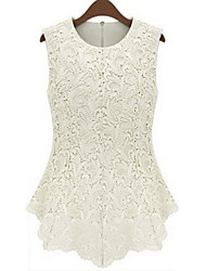 cheap -Women's Plus Size Tank Top - Solid Colored Lace / Summer