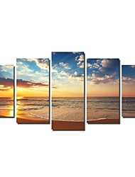 cheap -Canvas Set Landscape Traditional, Five Panels Horizontal Print Wall Decor Home Decoration