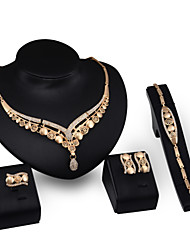 cheap -Chunky Jewelry Set - 18K Gold Plated, Cubic Zirconia Vintage, Party, Work Include Gold For Party / Special Occasion / Anniversary / Earrings / Necklace