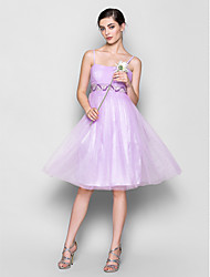 A-Line Spaghetti Straps Knee Length Chiffon Bridesmaid Dress with Beading Draping Ruching by LAN TING BRIDE®