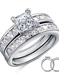 Mulheres Anéis de Casal Elegant Prata de Lei Zircônia Cubica Pena Prateado Quadrada Jóias de fantasia Casamento Festa Diário Casual