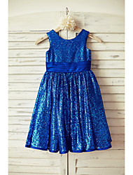 A-Line Knee Length Flower Girl Dress - Satin Sequined Sleeveless Scoop Neck with Sequin by thstylee