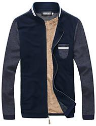 preiswerte -Solide Normal Übergröße Standard Jacke Leinen