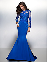Mermaid / Trumpet Jewel Neck Court Train Lace Satin Formal Evening Dress with Lace by TS Couture®