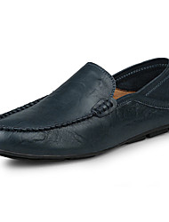 cheap -Men's Shoes Leather Summer Fall Moccasin Loafers & Slip-Ons Black Brown Blue