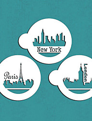 Paris, London, New York Skylines Cookie Stencil Set,Stencils Decorations for Cakes,Cake Craft Stencils,ST-634