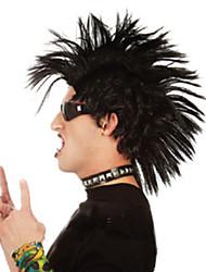 billige -Syntetiske parykker Lige Assymetrisk frisure Syntetisk hår Afro-amerikansk paryk Sort Paryk Herre / Dame Kort Lågløs