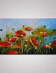 cheap -Hand-Painted Abstract Poppy Flowers Oil Painting on Canvas Ready to Hang